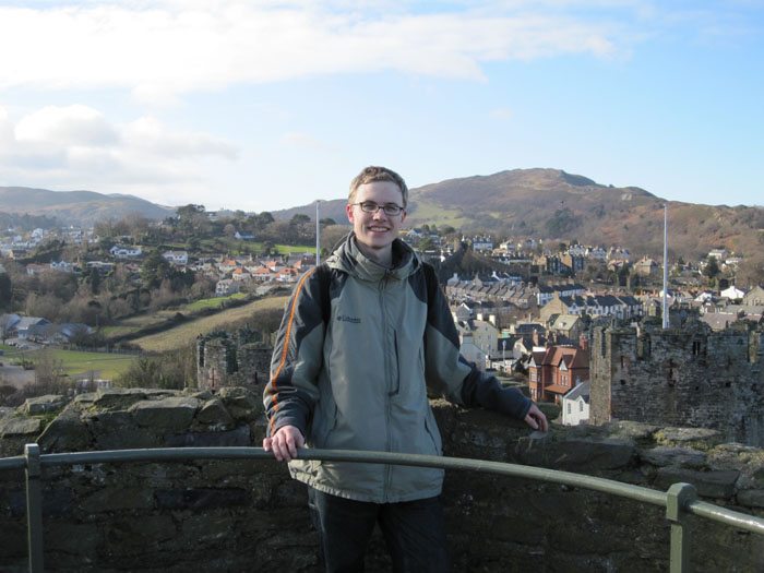 Me standing on top of a castle tower over the town of Conwy