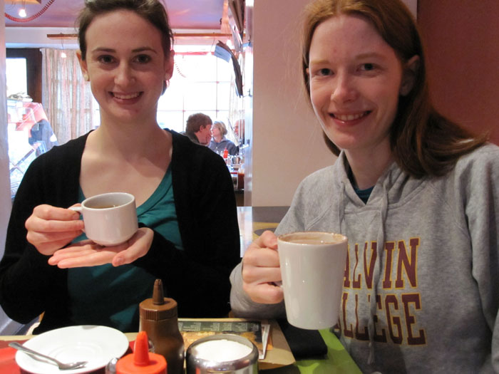 Melissa A. with her Ethiopian coffe and Mary with her hot chocolate in Caffi Caban, Betws-y-Coed