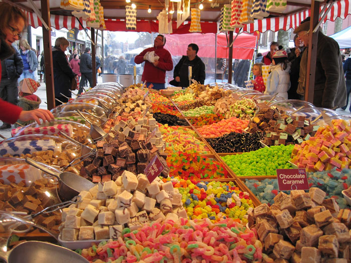 Confectionery stand in the street markets of York