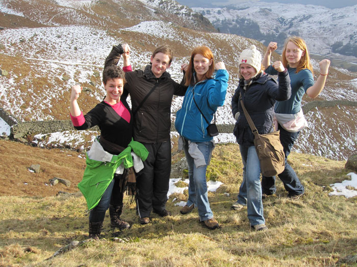 """From left to right: Teresa, Melissa A., Mary, Jenica, and Erin doing the """"triumphant"""" pose"""