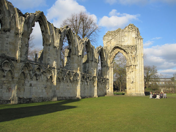 St Mary's Abbey ruins in the Yorkshire Museum Gardens (on tour with Christian Heritage Walk)