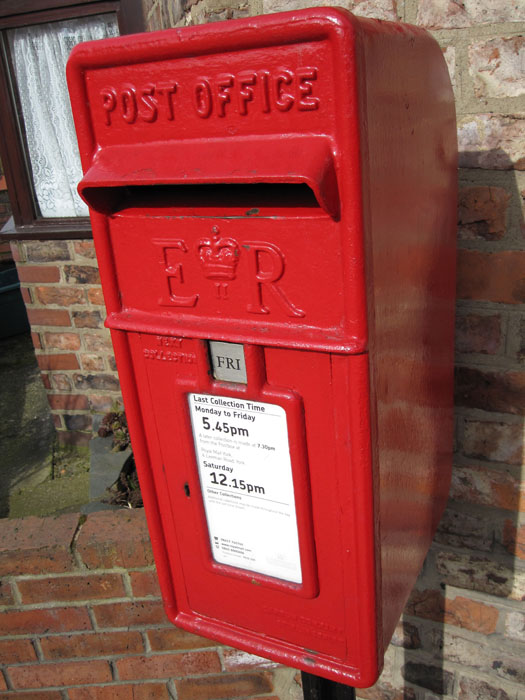 Of all the red post boxes that are all over England, I use this one on the corner of Neville St and Eldon St