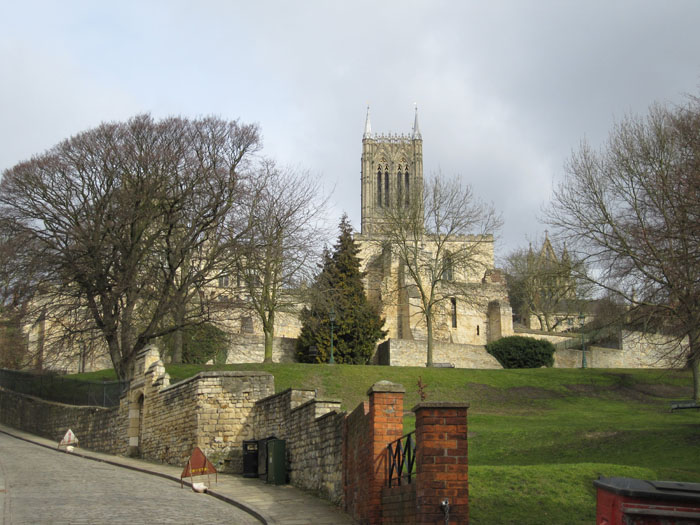 Lincoln Cathedral as viewed from Steep Hill street