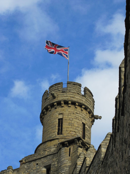 Union Jack waving in the wind on the Observatory Tower of the Lincoln Castle