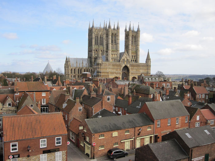 The massive Lincoln Cathedral soaring over Lincoln as viewed from the Lincoln Castle walls