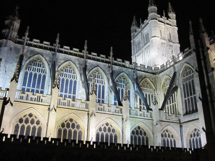 Bath Abbey lit up at night