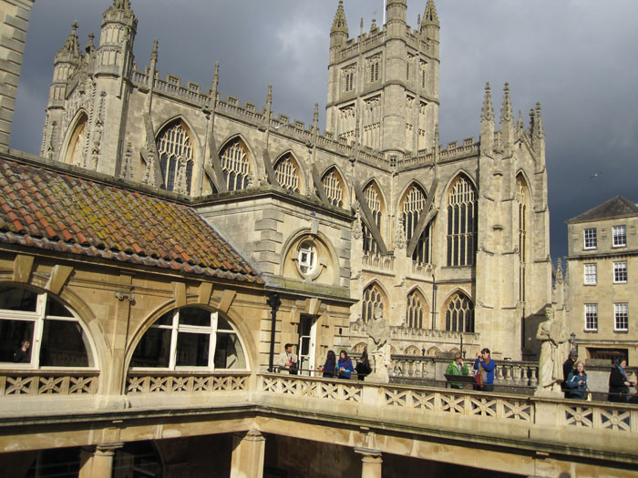 Bath Abbey as seen from the balcony over the Great Bath at the Roman Baths Museum