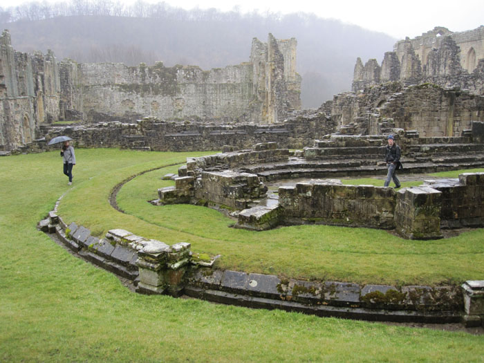 Jenica and John wandering about the ruins of the chapel at Rievaulx