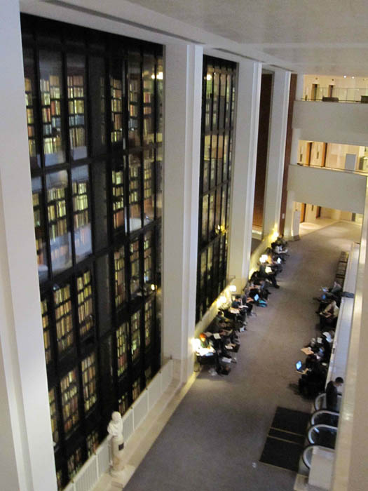 The five-storey illuminated bookshelf in the heart of the British Library with thousands of very old books