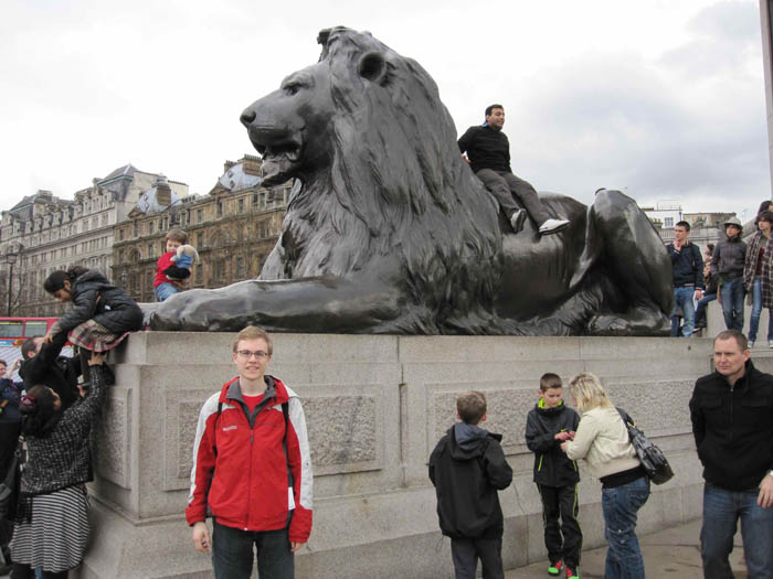 Me in Trafalgar Square (it's impossible to get a photo without other people in it in London)