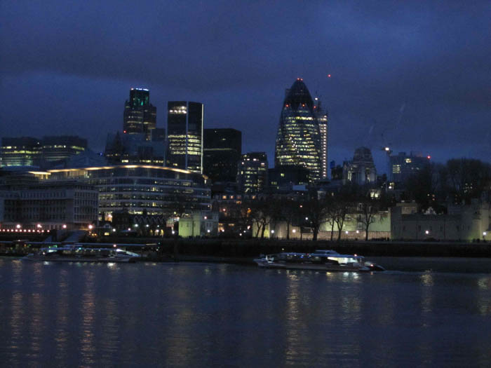 London skyline at night (my favorite is the bullet-shaped building)