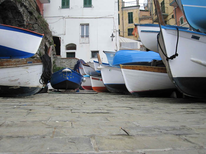 Boat landing in Riomaggiore, near our most-frequented place to read and relax