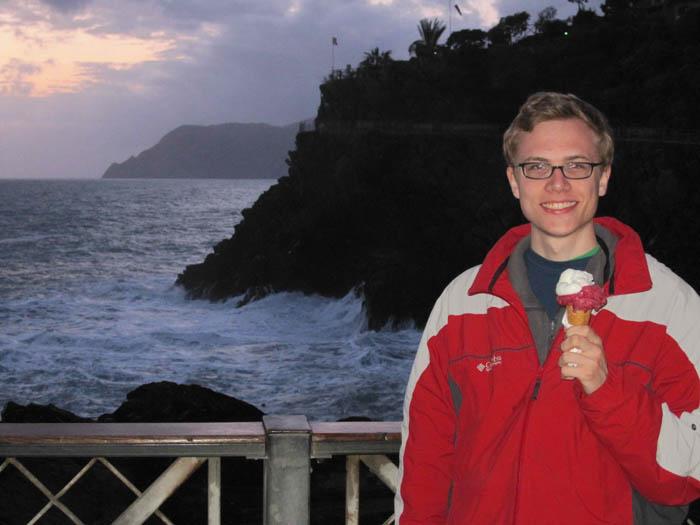 Enjoying my last few scoops of gelato by the Mediterranean at dusk