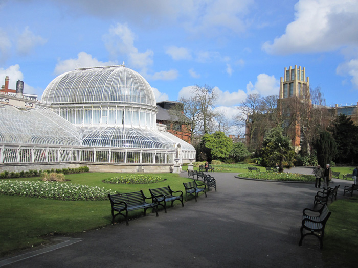 The glass Palm House in the Belfast Botanic Gardens