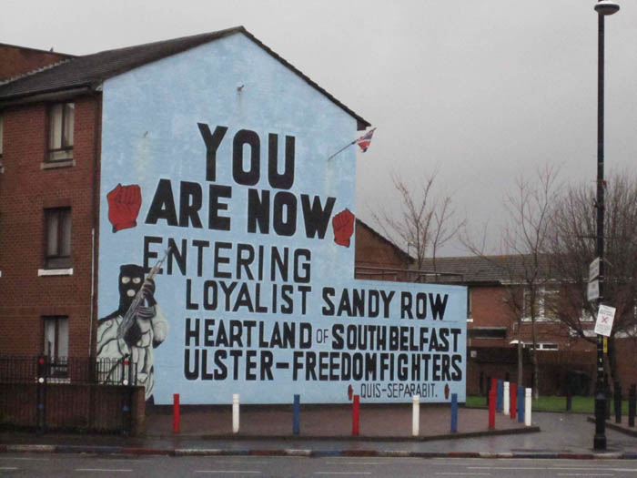 Loyalist political mural in Belfast - signs of the Troubles