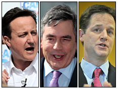 L-R: David Cameron (Conservatives); Gordon Brown (Labour); Nick Clegg (Liberal Democrats)