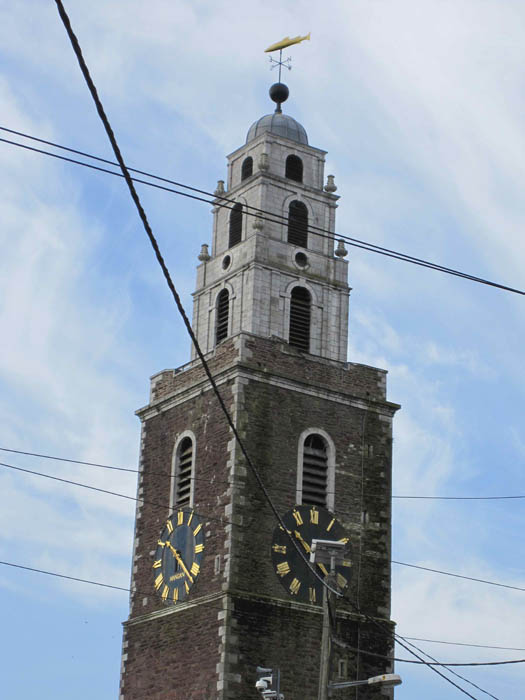 The tower of St Anne's Church, in Shandon, Cork -- notice the fish weathervane at the top
