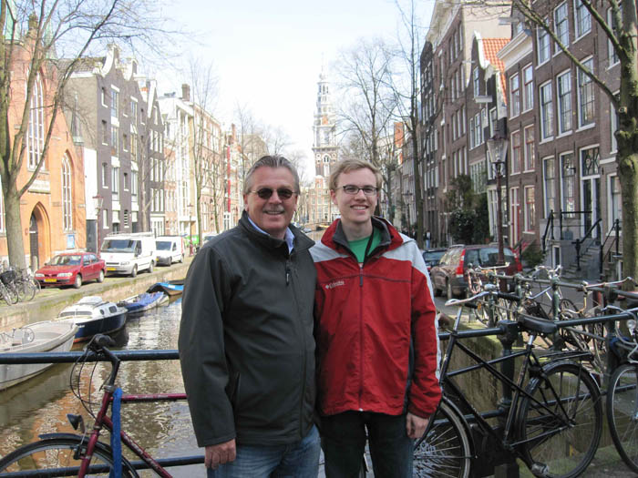 Oom Piet and I with the Zuiderkerk behind us