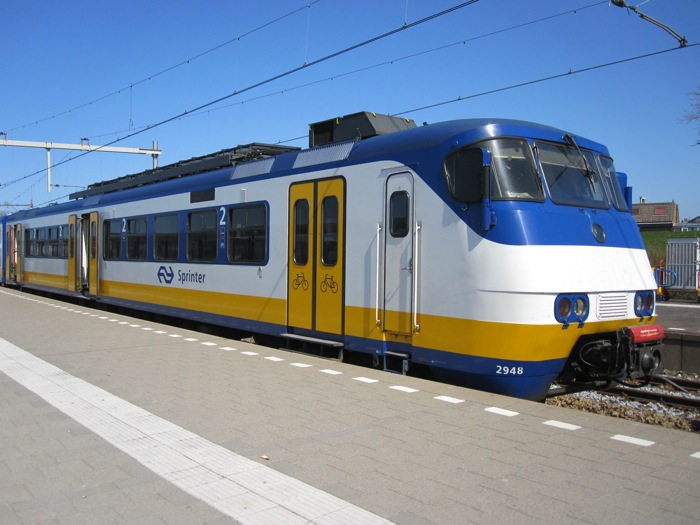 Nederlandse Spoorwegen (NS) train at the Hoek van Holland Stena Line port