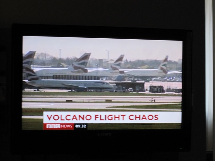 """VOLCANO FLIGHT CHAOS"" showing grounded flights on the BBC"