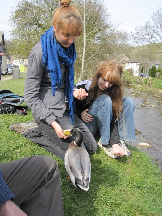 Sanna and Megan and our duck friend in Malham
