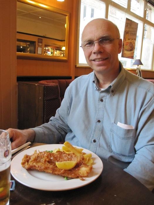 Dad enjoying his fish and chips at Cross Keys
