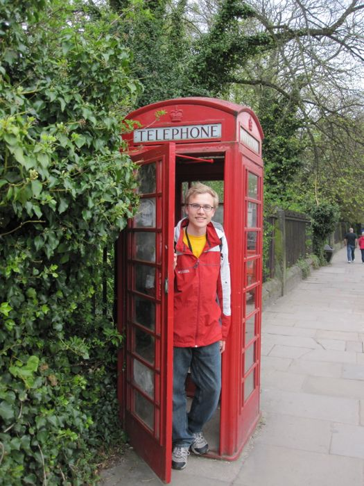 Me in a classic red telephone booth