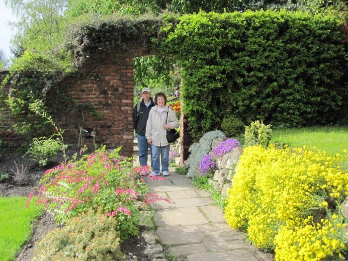 My parents in Grays Court flower gardens