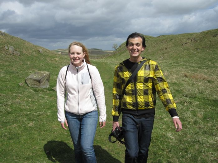 Erin and Joel all smiles on our hike of Hadrian's Wall
