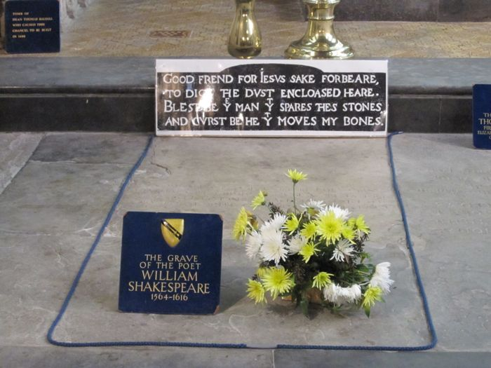 William Shakespeare's grave with the poetic admonition not to move his bones