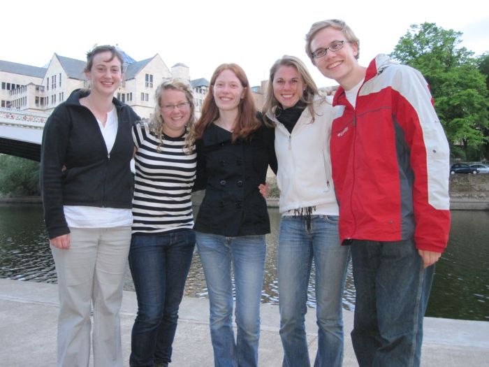 Melissa A., Jenica, Mary, Eva, and me on the River Ouse, our last night in York